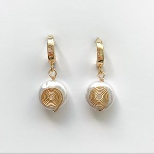 Jewelry - GOLD PEARL EARRINGS HUGGIE EARRINGS SMALL